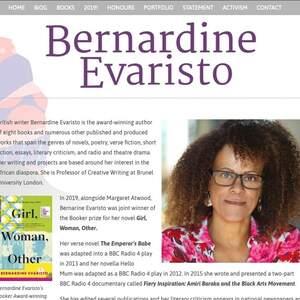 Bernardine Evaristo website - website design