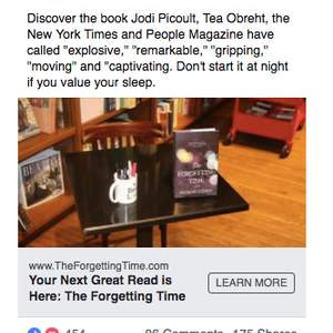 Facebook Ads: THE FORGETTING TIME by Sharon Guskin
