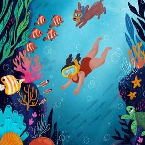 swimming-sea-girl_dog_-ctopus-fish-turtle.jpg