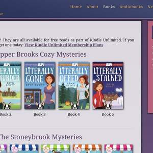 Cozy mystery author website (ErynScott.com)